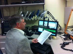 Sen. Chris Johnson recording the radio address