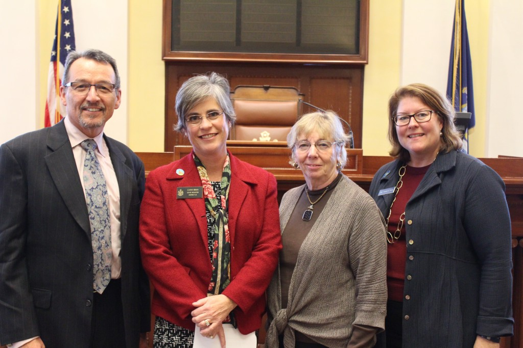 Sen. Cathy Breen, second from left, is joined by MECDHH Executive Director David Sherry, MECDHH Consultant Barbara Keefe, and Rep. Teresa Pierce, D-Falmouth.