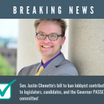 Sen. Chenette's bill to ban lobbyist contributions receives committee approval